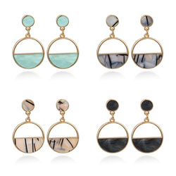 2020 New Women's Gold Earrings Metal Simple Charm Hollow Geometric Pendant Drop Earrings Pendientes Mujer Moda
