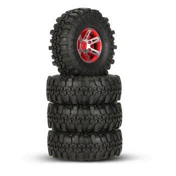 4Pcs 1.9inch Beadlock Wheel Rim & 1.9 Rubber Tires Set for 1/10 RC Crawler Axial SCX10 90046 TF2 RC4WD RC Car Parts