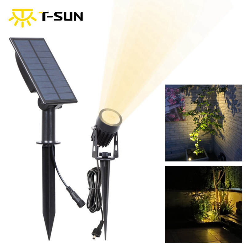 T-SUN LED Landscape Solar Spotlights Waterproof Outdoor Solar Lights Auto ON OFF Solar Wall Lights for Garden Driveway Pathway