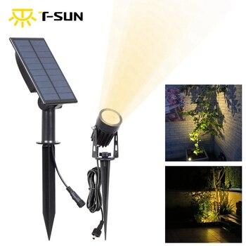 T-SUN LED krajobraz reflektory słoneczne wodoodporne zewnętrzne światła słoneczne Auto ON/OFF słoneczne kinkiety do ścieżki podjazdowej ogrodu