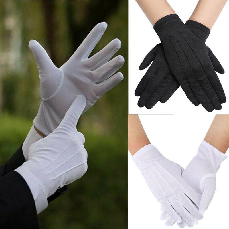 1Pair White Cotton Jewelry Glove Beauty Moisturising Magician Waiter Gloves
