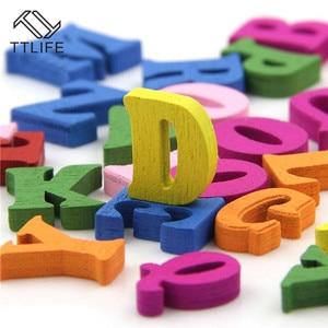 Image 4 - Rompecabezas educativo de madera para niños, juguete de alfabeto, letras de Scrabble, coloridas letras decorativas, números, manualidades, bricolaje, 100 Uds.