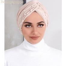 Muslim Women Cross Polyester Pearl Bead Turban Hat Cancer Chemo Beanies Cap Headwear Headwrap Plated for Hair Loss Accessories