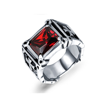 NEW Donineering inlaid red stone ring exaggerated punk style titanium steel classic retro mens jewelry gift VR585