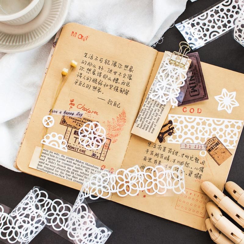 35mm*1m Kawaii Cute Flower Grid Lace Washi Tape Hollow Out Scrapbooking Masking Tape DIY School Supplies Bullet Journal Sl2142