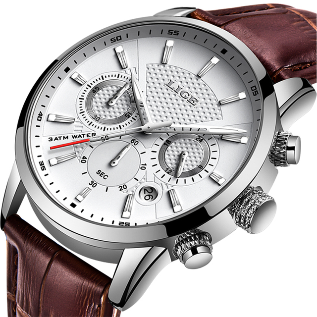 LIGE Leather Chronograph Watch
