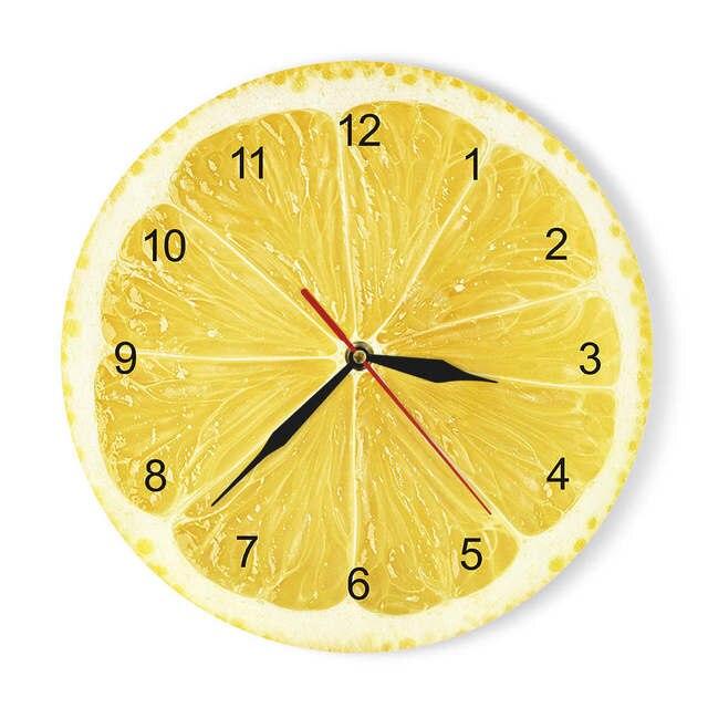 Portakal limon meyve akrilik duvar saati kireç Pomelo Modern mutfak saati izle ev dekor taze tropikal meyve duvar sanat Timepiece