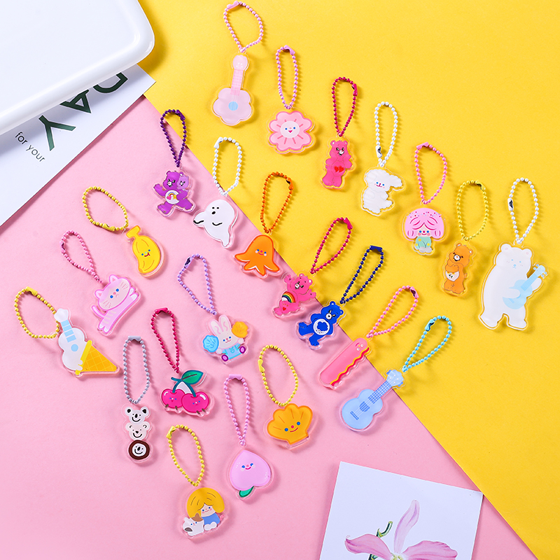 Ins Cute Cartoon Flower Bear Rabbit Peach Acrylic Key One Side Print Pendant Bead Chain Ornaments Llaveros