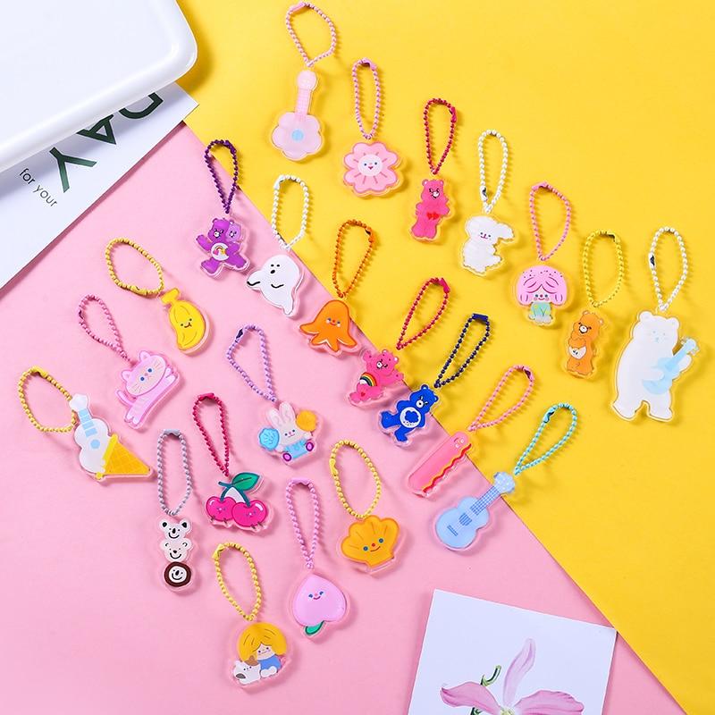 Ins Cute Cartoon Flower Bear Rabbit Peach Acrylic Key One Side Print Pendant Bead Chain Ornaments Llaveros