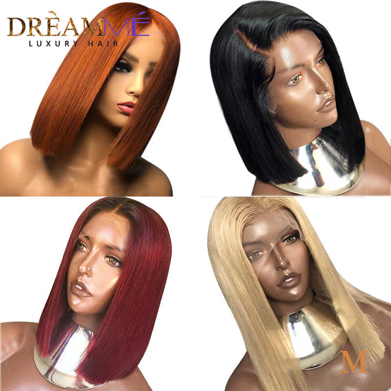 13x4 Deep Part Lace Front Human Hair Wigs For Black Women Brazilian Remy Hair Ombre Short Cut Human Hair Bob Wigs 150 Density