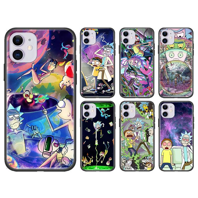 Comie Morty Funny Rick Cover For Apple iPhone 11 7 8 XS Max X XR 6 6S Plus 5 5S SE 2020 Black Silicone Case Fundas Capa