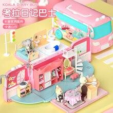 DIY Pretend Toy Koala Dollhouse Role Play Doll Mini Bus Car Villa House Furniture Educational Toys For Children Girls Gifts