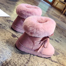 2019 New Women Snow Boots Warm Plush Slip On Fur Fashion Ankle Pink Brown Platform