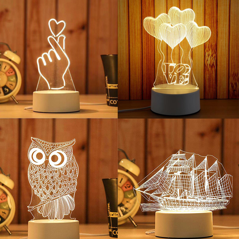 LED Light Creative 3D LED Night Light Table Lamp Children Bedroom Decoration Christmas Gift Decoration Home