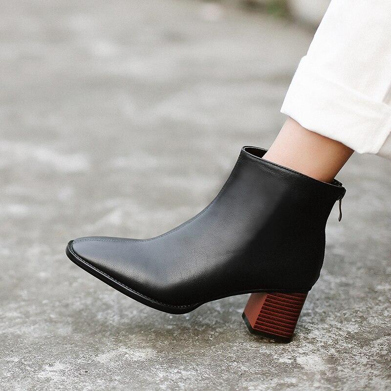 Женские ботинки; Популярные женские полусапожки из натуральной коровьей кожи в европейском и американском стиле; Модная классическая обувь ручной работы|Полусапожки|   | АлиЭкспресс