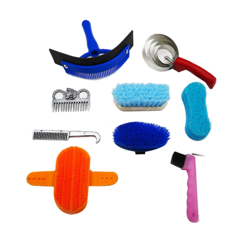 TOP!-10Pcs Horse Cleaning Set Horse Beauty Tool Set Mane Tail Comb Massage Curry Brush Sweat Shoe Broom Curry Comb Washer