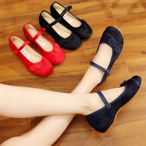 Image 3 - Veowalk Chinese Knot Women Cotton Fabric Embroidered Ballet Flats Retro Ladies Casual Traditional Old Beijing Shoes Solid Color