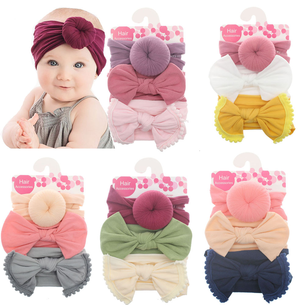 New 3pcs/lot Fashion Baby Nylon Bow Headband Newborn Bowknot Round Ball Headwrap Flower Turban Girls Kids Hair Bands Gift Sets