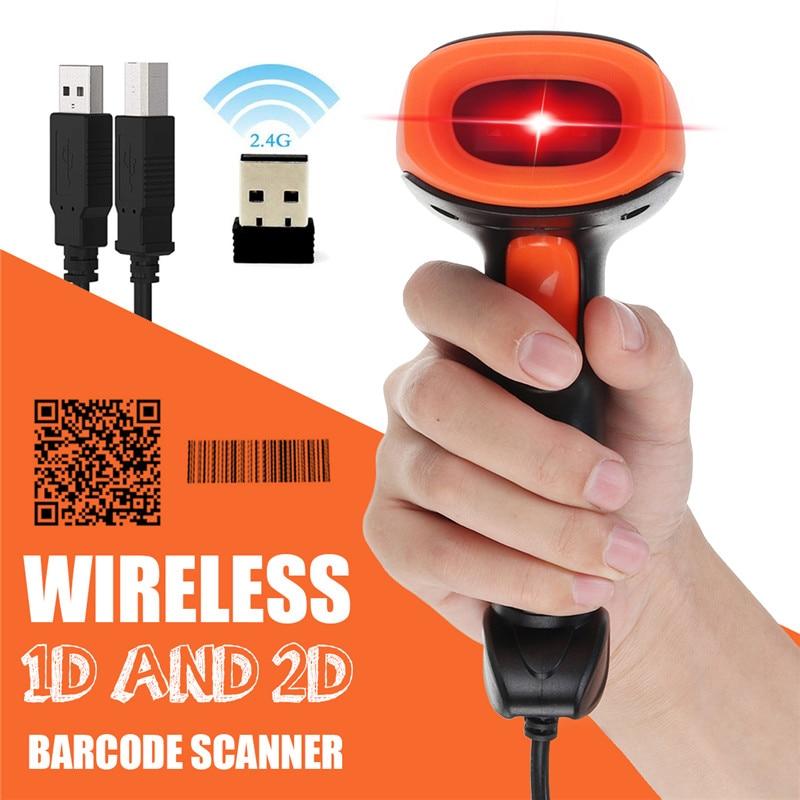2 4g 1d 2d scanner de codigo de barras portatil usb sem fio handheld laser luz