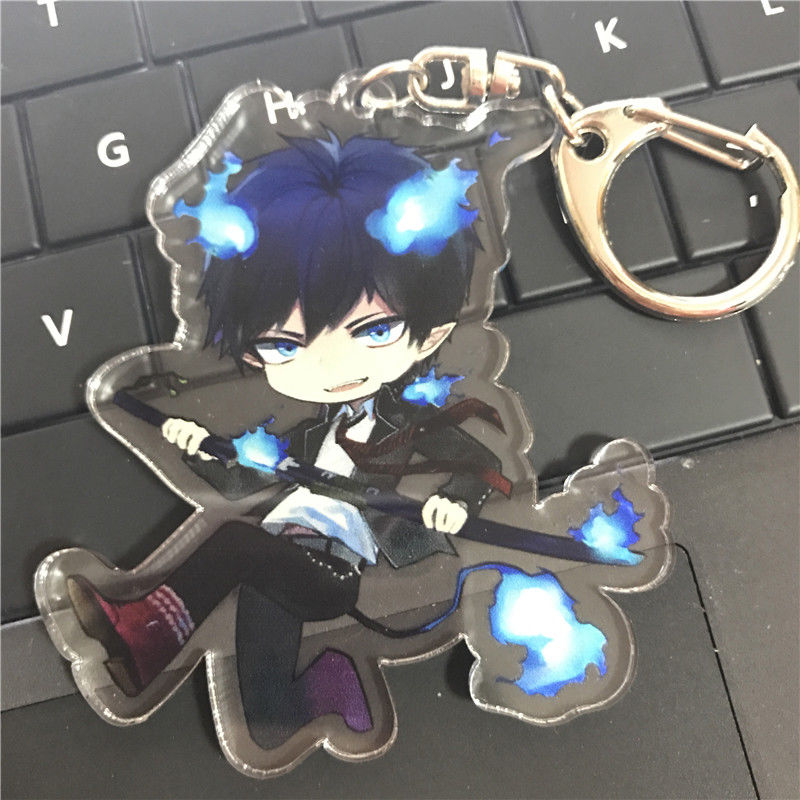 Anime Keychain Ao No Exorcist Blue Exorcist Okumura Rin Acrylic Keychain Model Pendant Keyring Strap Toy Collection Gift