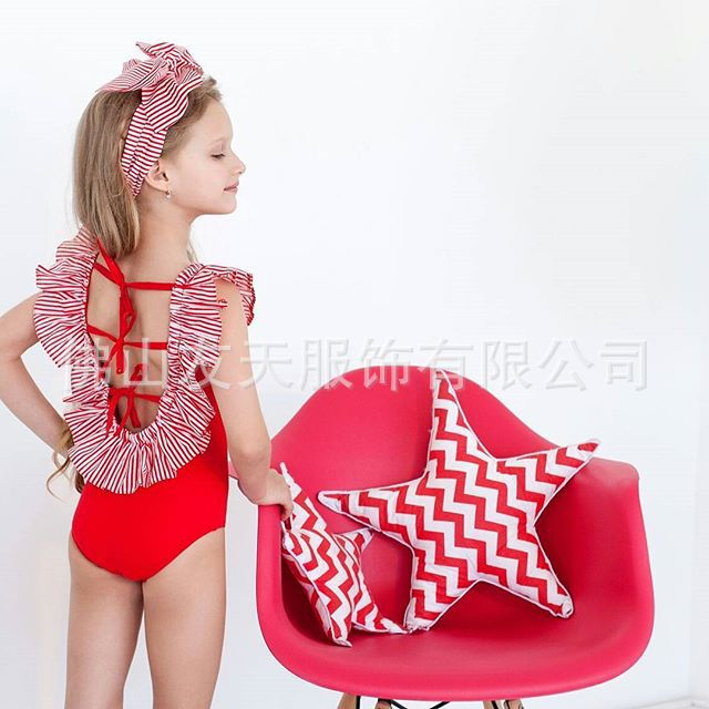 2019ins Hot Selling Simple Children Girls Stripes Solid Color One-piece Swimming Suit + Headband Two-Piece Set