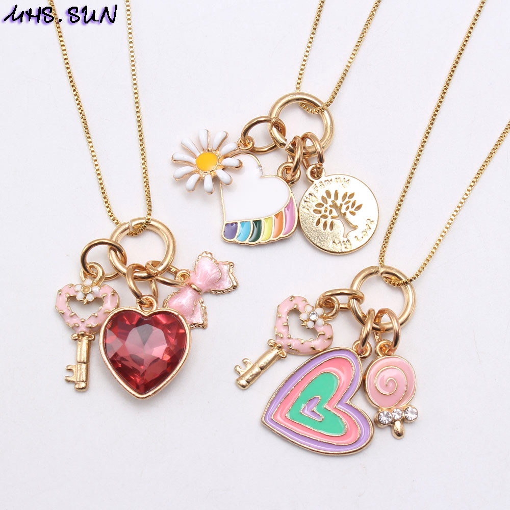 MHS.SUN Fashion Design Kids Girls Heart Flower Key Pendants Necklace Baby Child Charming Chain Necklace Jewelry Accessories New