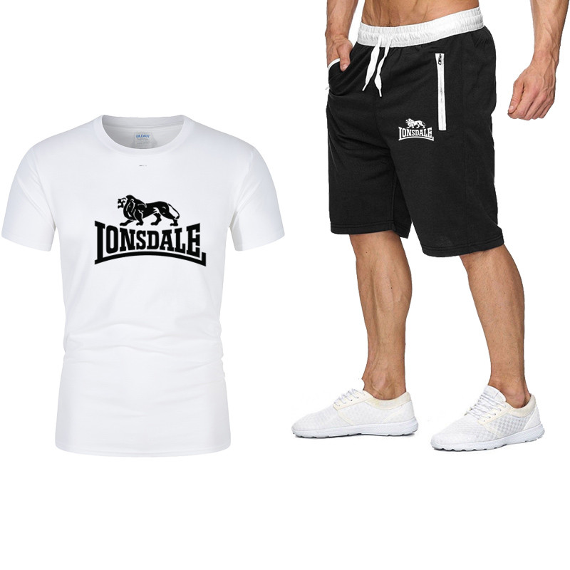 Tracksuit Male 2020 Men's Clothing Set Of Summer Fitness Sports Clothing Print Shorts+ T Shirt Male Suit 2 Pieces Sets Plus Size