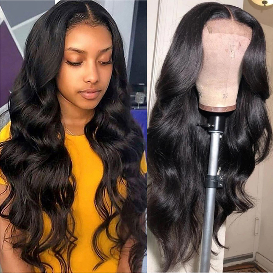 Brazil 4x4 Body Wave Lace Closure Wig Human Hair Wigs For Black Women 150% Density Glueless Lace Closure Wig