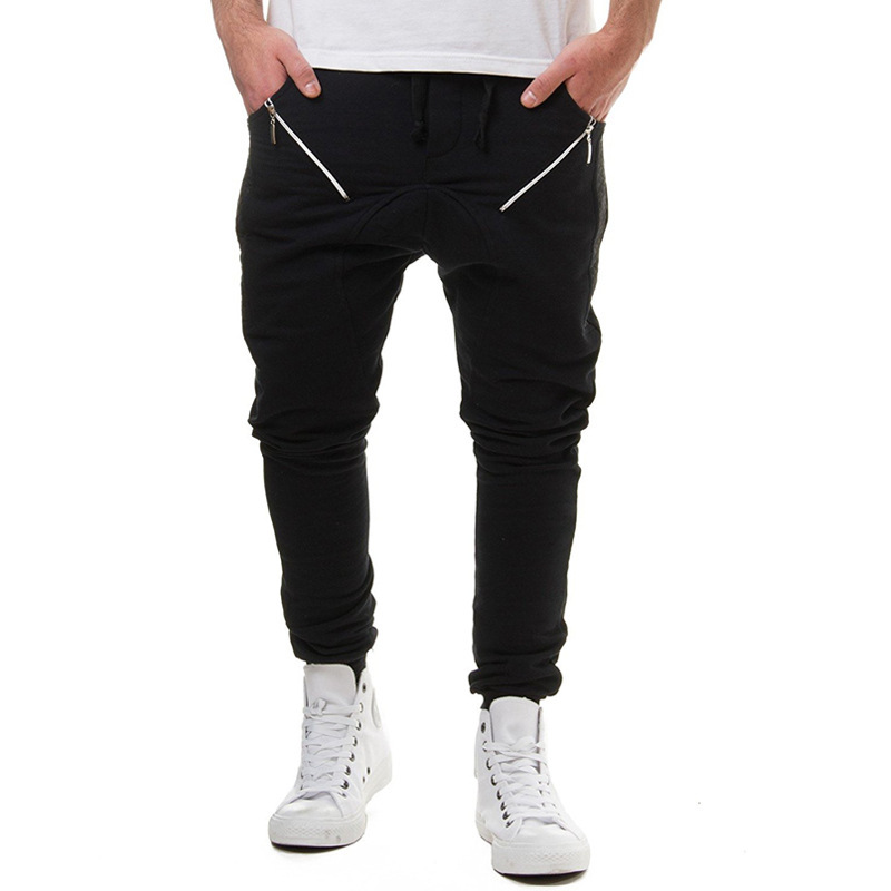 2018 New Style Men Fashion Zipper Joint With Drawstring Elastic Athletic Pants Men's Harem Casual Pants 7432