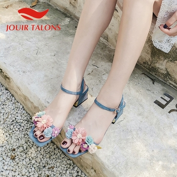 JOUIR TALONS Brand Design Kid Suede Women Sandals Square Heels Peep Toe Flower Pumps Summer Sasual Women Shoes