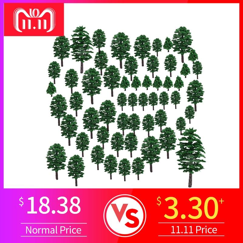 57Pcs 4-15cm Sandboxie Model Trees Micro Landscape Garden Miniature Decoration Microlandschaft Roadsides Model Building Kits