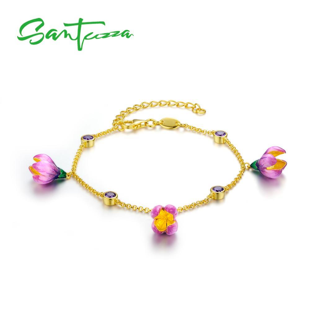 SANTUZZA Silver Bracelet For Women 925 Sterling Silver Elegant Pink Flower Adjustable Gold Color Fine Jewelry Handmade Enamel