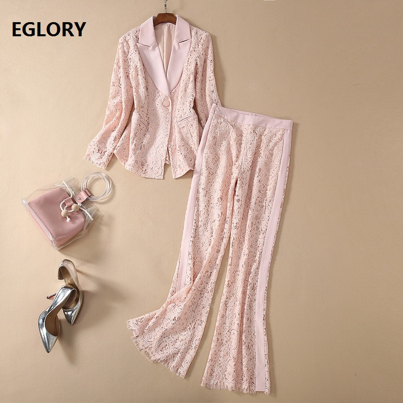 High Quality Lace Blazer Sets 2020 Spring Runway Clothing Women Notched Collar Blazer Jacket+Full Length Pink Lace Pant Sets 2pc