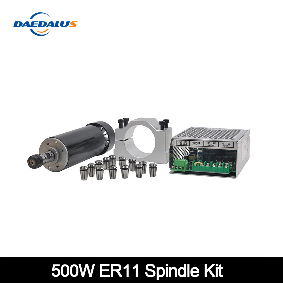 500W Air Cooled Spindle ER11 CNC 0.5kw Spindle Motor+Adjustable Power Supply 52MM Clamps ER11 Collet Chuck For Engraving Machine