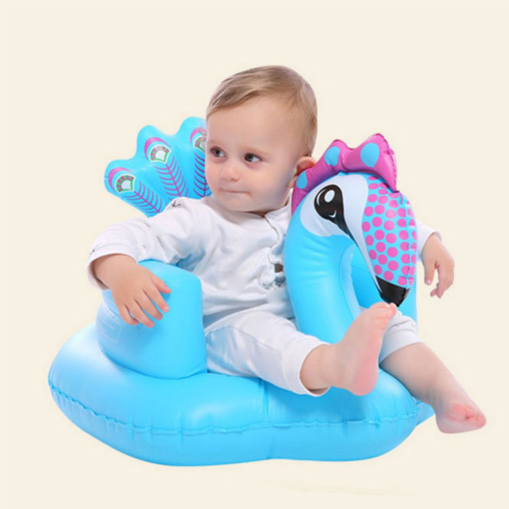 Infant Inflatable Sofa Seat Baby Dining Chair Bath Stool Inflatable Toy Peacock PVC Inflatable Sofa Child Gift
