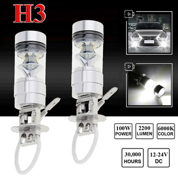 2pcs H3 Led Fog Light 100w Super Bright Chips Car Driving Bulb 12/24v White 1100lm / bulb 6000k White LED Car Light High Quality image