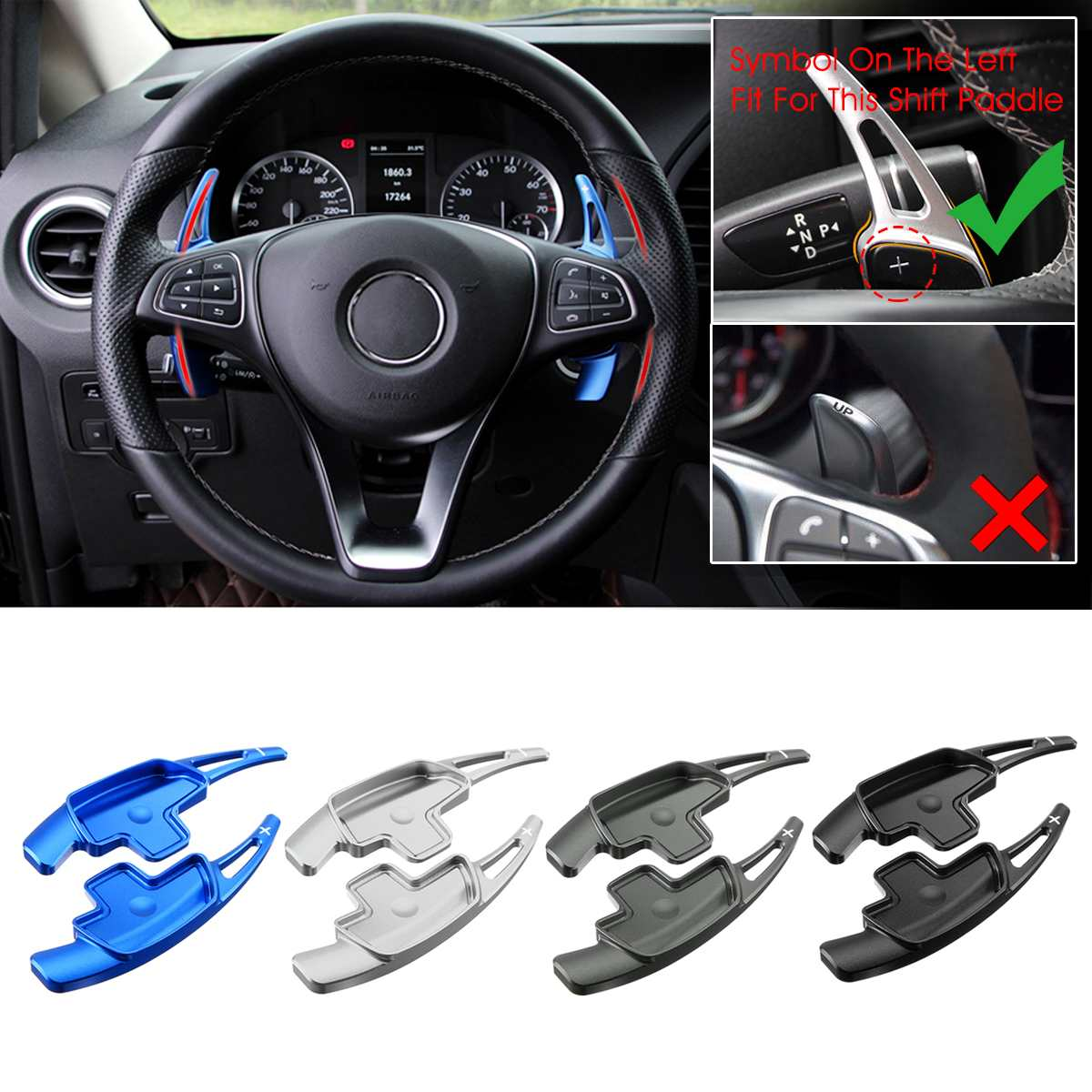 Alloy Steering Wheel DSG Paddle Extension Shifters Cover For Mercedes S350 S400