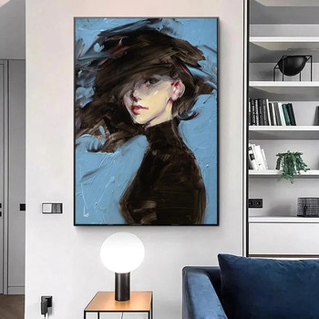 Woman on Blue Background Art Painting Printed on Canvas 4