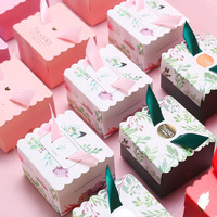 100pcs/lot Creative flower square box sweet wedding gift bag candy chocolate box wedding party thanks gift boxes wholesale