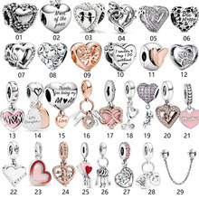 Real 925 Sterling Silver Mom and Daughter Love Heart Charm Charms Fit Original Pandora Bracelet DIY Silver Jewelry Gift
