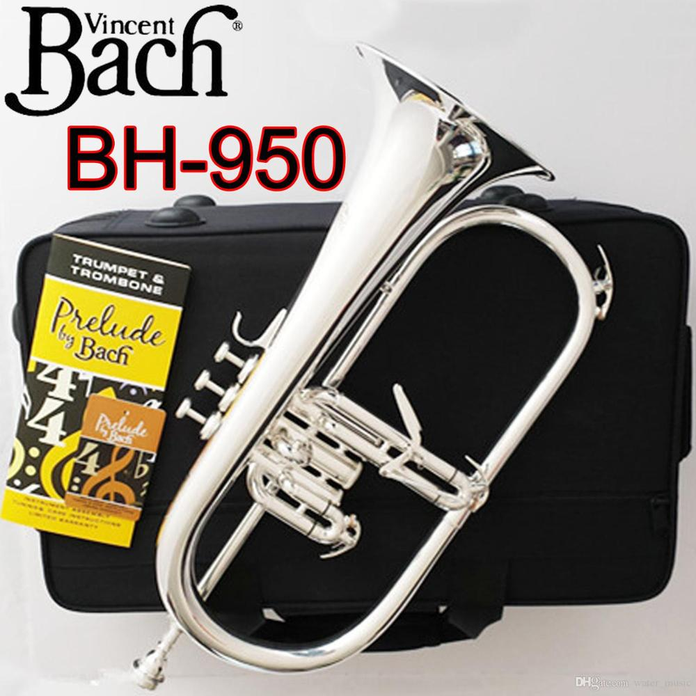 Vincent Professional Flugelhorn BH-950 Silver/Gold Plated With Case Flugelhorns Bb Yellow Brass Bell