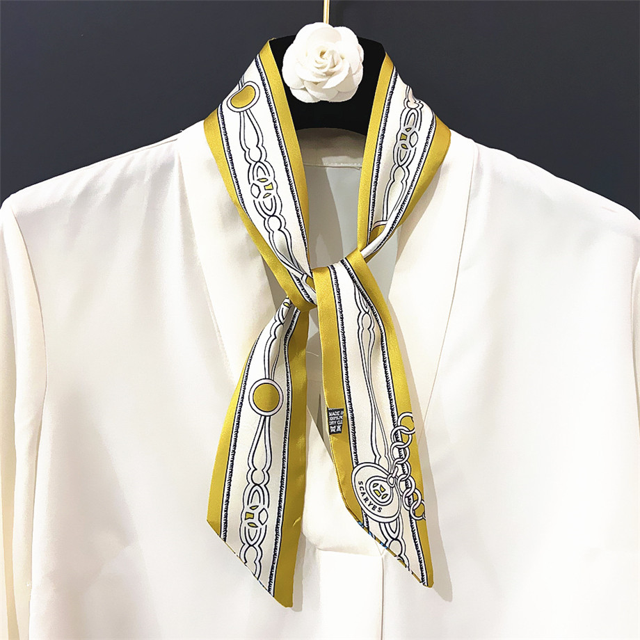 Spring Skinny Scarf For Women Luxury Brand Chain Bag Scarves 2020 New Design Summer Neckerchief Silk Scarf For Ladies