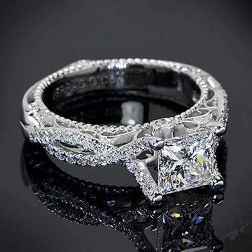 Romantic Antique Female Ring AAAAA Square Zircon Cz Plated Anillos Silver Engagement Wedding Band Men's Ring For Women Size6-10