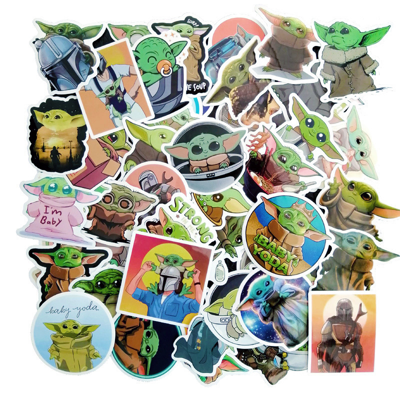 50 PCS Baby Yoda Star Wars The Mandalorian Stickers for Laptop Skateboard Home Decoration Car Scooter Decal