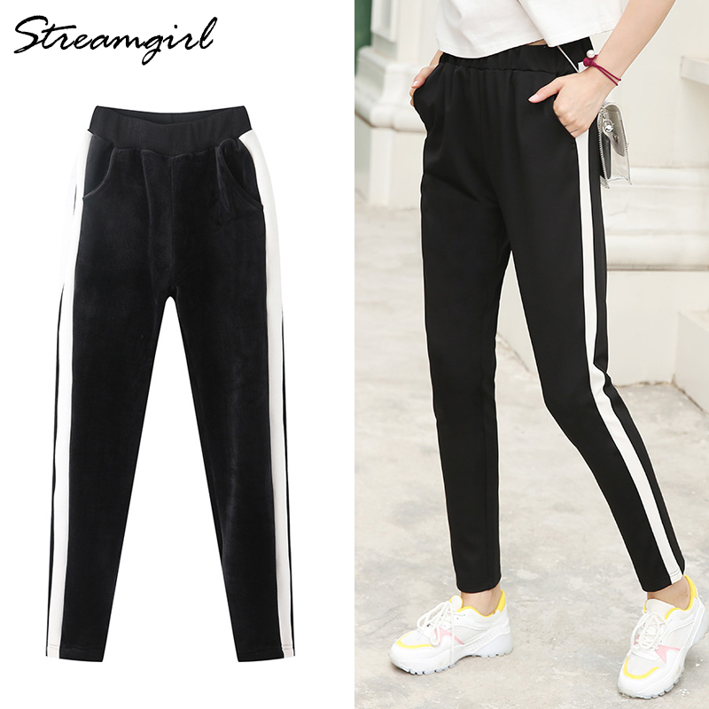 Image 3 - Warm Sweatpants Women Winter Pants With Stripes To The Side Woman Velvet Striped Harem Pants Winter Trousers Women Striped WarmPants & Capris   -