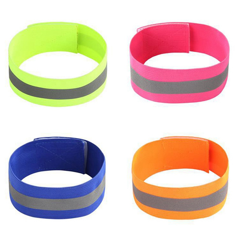 4pcs/Pack Visibility Band Reflection Elastic Wristbands Ankle Straps Emergence Safety Warning Bands Running Cycling Reflective