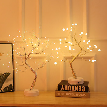 LED Copper Wire Tree Shape Night Light Battery USB Firefly Tree Lamp Firework Touch Switch Control Table Lamp Home Decor