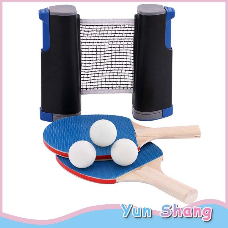 Table Tennis Sets 3 Ping Pong Balls+Racket+Telescopic Net Ping Pong Bats Extending Net Table Tennis Balls For Children/Adult