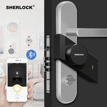 قفل باب Sherlock S2 يعمل ببصمة الإصبع + كلمة السر قفل إلكتروني للمنزل بدون مفتاح قفل ذكي يعمل بالبلوتوث تطبيق لاسلكي للتحكم بالهاتف