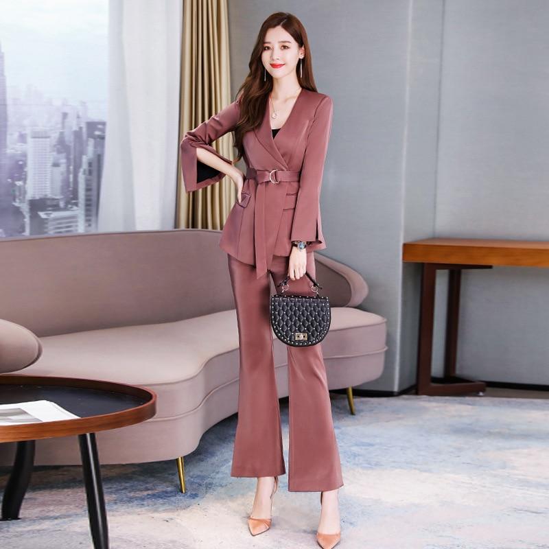 Temperament professional women's suit Autumn new slim waist long sleeve ladies jacket Office casual trouser suit high quality 33